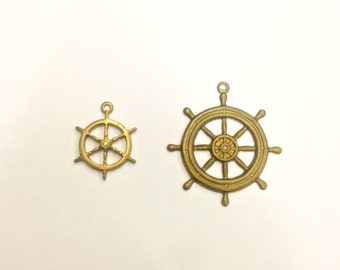 6 Pieces Small or Large Ship's Wheel, Raw Brass, Charm/ Pendant