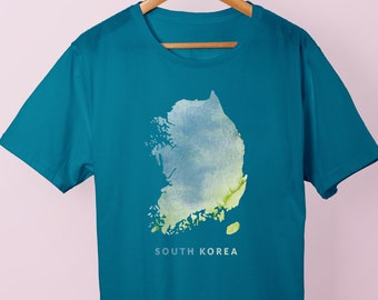 South Korea Watercolor Map Graphic Tee | A kPop and kDrama South Korea Shirt for Korean Drama and Music Lovers