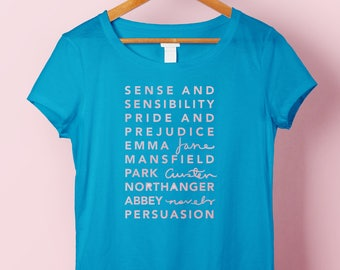 Jane Austen Bibliography Woman's Shirt | A Literary Gift for Bookworms, Northanger Abbey Readers and Pride and Prejudice Lovers