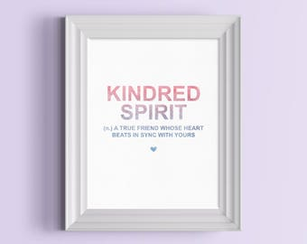 Kindred Spirit Definition Print | An Anne of Green Gables Inspired Literary Print For Lovers of Anne With An E