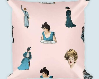 Gibson Girl Square Decorative Pillow   A Vintage Inspired Throw Pillow For Book Lovers, History Fans and Victorian Decorators