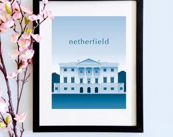 Netherfield Duotone Literary Print | A Jane Austen Print for Lovers of Pride and Prejudice, Mr Bingley and the Regency World