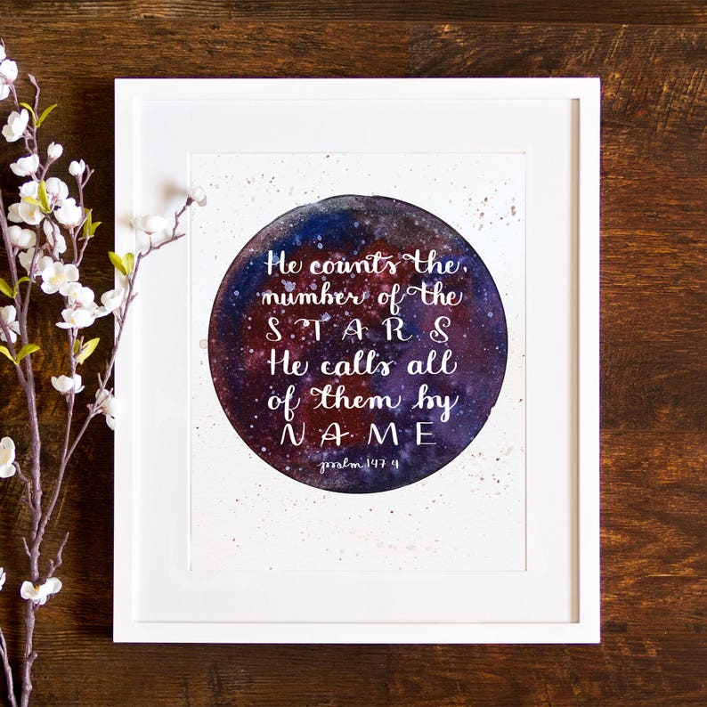 Number the Stars Bible Calligraphy Print   A Scriptural Poster for Bible  Lovers, Galaxy Admirers and JWs