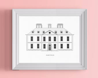 Hartfield Architectural Poster | A Literary Print For Jane Austen Fans, Emma Adorers and English Period Dramas