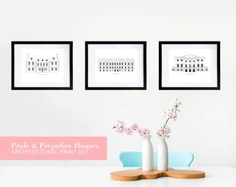 Pride and Prejudice Architectural House Literary Print Set | A Jane Austen Gift for Pemberley Dreamers, Bookworms and Book Lovers