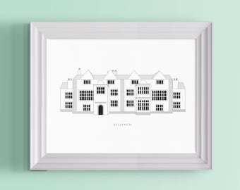 Kellynch Architectural Poster | A Bookworm Literary Print For Jane Austen Fans, Persuasion Readers and Book Lovers