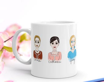 Jane Austen Heroines Mug | A Gift For Jane Austen Fans, Pride and Prejudice Lovers and Bookworm for Her Literary Mug Givers