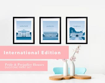 Pride and Prejudice House Print Set * International Edition * | A Literary Poster Set for Lovers of Jane Austen Prints and Gifts