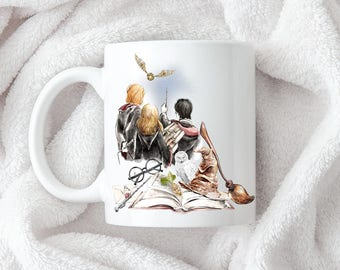 Magical Three Coffee Mug 11oz 15oz  Gift for Her Mom Gift Him Dad Harry Potter Ron Weasley Hermione Granger Sorting Hat Owl Snitch Broom