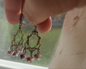 Pink Cherry Blossom Chandelier Earrings