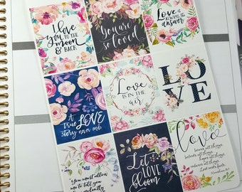 Love quote boxes | Stickers for Erin Condren planner (#QB16)