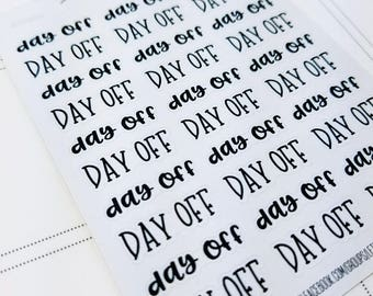 Day Off | monochrome script icons | Planner stickers | Stickers for Planners