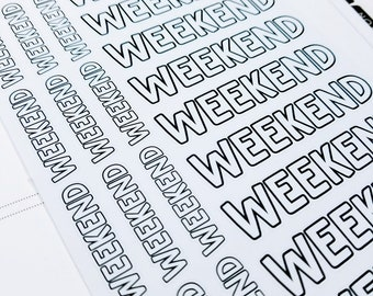 Weekend | monochrome script icons | Planner stickers | Stickers for Planners