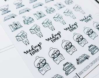 Cora - reading/ study  | mid size monochrome character / action | Planner stickers