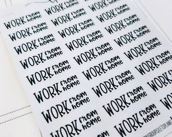 Work from Home | monochrome script icons | Planner stickers | Stickers for Planners