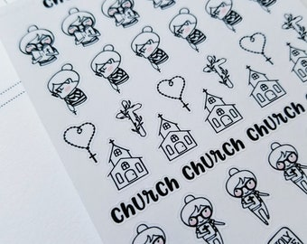 Cora - Church | mini size monochrome character / action | Planner stickers