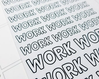 Work | monochrome script icons | Planner stickers | Stickers for Planners
