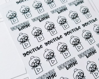 Cora- Social Media- YouTube | mid size monochrome character / action | Planner stickers