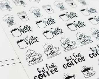 Cora - coffee | mini monochrome character / action | Planner stickers (#CORA3)