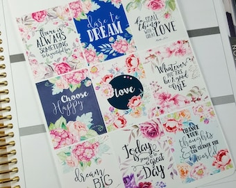 Inspirational/ motivational quote boxes | Stickers for Erin Condren planner (#QB09)