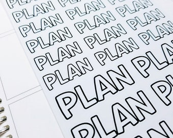 Plan / planning | monochrome script icons | Planner stickers | Stickers for Planners