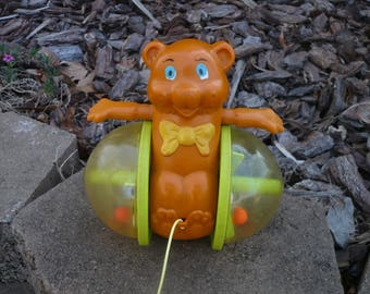 Fisher Price Bob Along Bear Pull Toy # 642