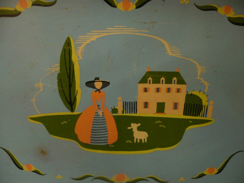 Blue Lady and Lamb Countryside Tray