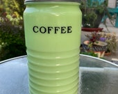 Jeanette Jadite Coffee Canister - 1930s - Beehive Style - Lidded Jadeite Container - Excellent Vintage Condition