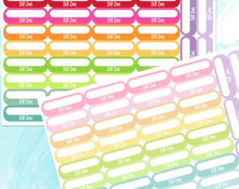 Bill Due Planner Stickers Multicolored, Pay Bill Stickers, Finance Stickers, Bill Tracker, Perfect for the Erin Condren Life Planner.