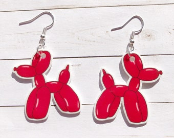 BALLOON DOG EARRINGS crystal pink cute quirky cool unique fun earrings gift for her