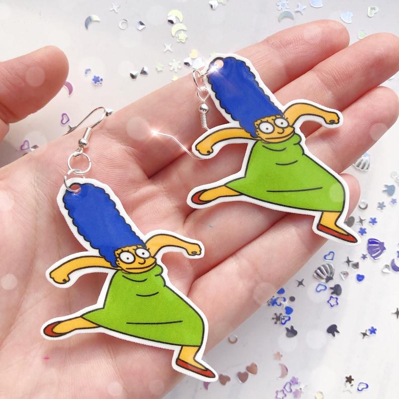 Hand Drawn Krumping Marge Earrings