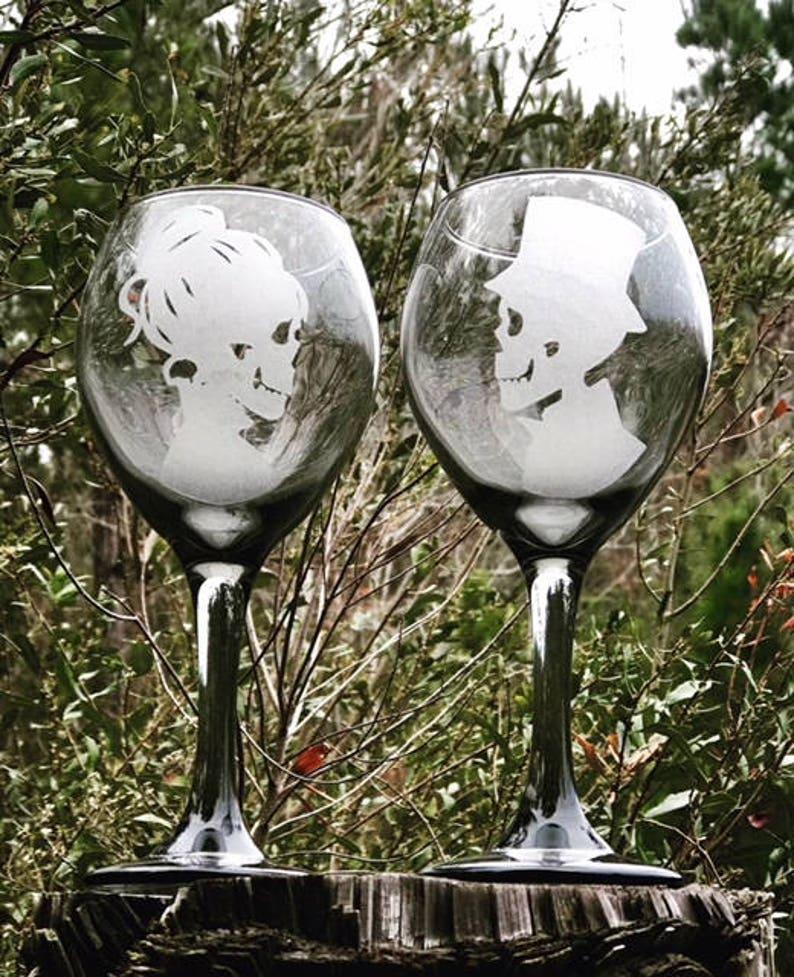 8283ba4e89e Two Black tinted wine glass Hand Engraved Skeleton Wine | Etsy