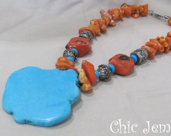 Orange Coral Southwestern Turquoise Necklace, Big bold statment necklace, Gift for her, Cowgirl necklace, orange one of a kind necklace