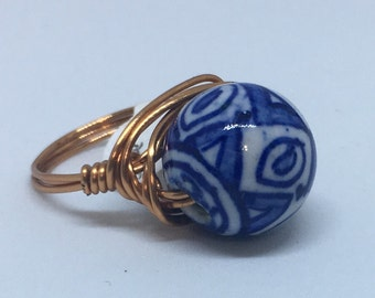 Royal Blue china wire wrap ring, blue china, ceramic ring, ceramic, wire wrap ring, statement ring, unique jewelry, gifts for her
