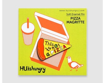 Pizza Magritte Soft Enamel Pin - This is Not a Pizza Lapel Pin - Cute Fun Quirky Art Gift - Pin for Hungry Girl - Gift for Artist