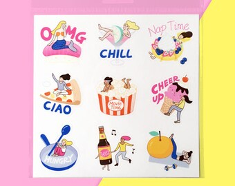 Foodie Girl Sticker Sheet - Waterproof Vinyl Hungry Girl Notebook Stickers - Cute Funny Quirky Kiss Cut Planner Stickers - Laptop Stickers