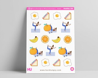 Healthy Life, Egg Stickers, Sandwich Stickers, Workout Stickers, Banana Stickers, Yoga Stickers, Orange Stickers