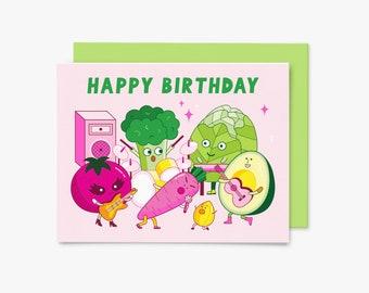 Happy Birthday - Vegan Food Band - GC0014 - Greeting Card