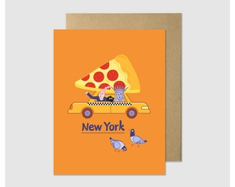 New York Pizza Greeting Card - Lady Liberty Taxi Cab Pizza Card - Funny Card - Cute NYC Card - A2 Fold-Over Single Greeting Card