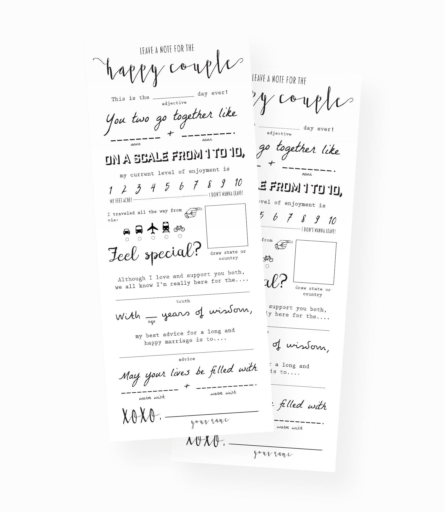 wedding mad libs wedding keepsake marriage advice cards etsy