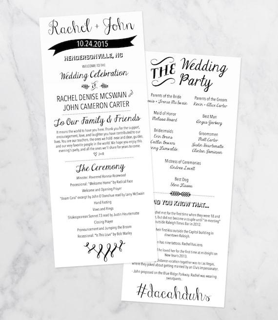 the carter printable wedding program diy wedding wedding