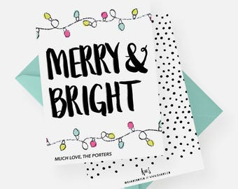 Merry and Bright Holiday Card | Modern Christmas Card, Photo Card, Printable Christmas Card, Custom Photo Card, Christmas Lights