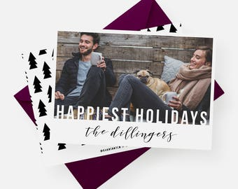 Happiest Holidays Card | Modern Photo Card, Printable Christmas Card, Modern Holiday Card, Custom Photo Card, Photo Holiday Card