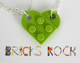 Lime Green Heart Necklace - Jewelry made with LEGO® pieces