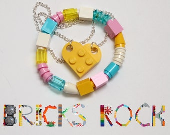 Yellow Heart Jewelry Set - Heart Necklace and Bracelet made with LEGO® pieces - Jewelry made with LEGO® pieces