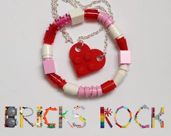 Red Heart Necklace Jewelry Set - Heart Necklace and Bracelet made with LEGO® - Jewelry made with LEGO® pieces