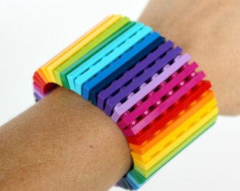 Rainbow - 1 x 6  Bracelet made with LEGO® - Jewelry made with LEGO® -Bracelet made with LEGO®
