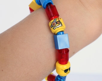 Kids 1 x 1 Bracelet made with LEGO®- Solid and Translucent Bricks, Tubes, Cones and Heads - Jewelry made with LEGO®