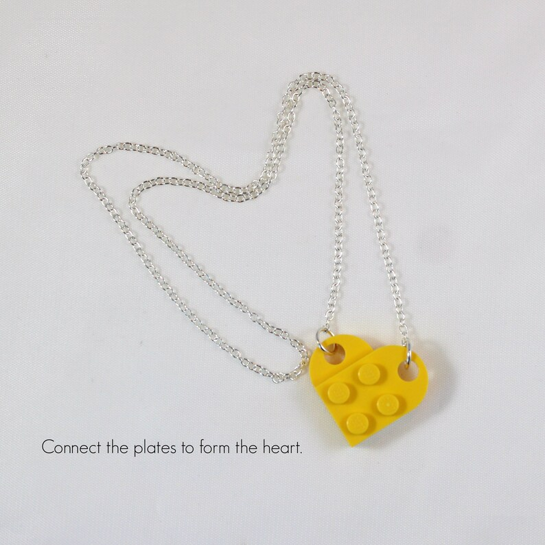 Yellow heart necklace and a pair of stud earrings Jewelry made with LEGO\u00ae pieces- Mother/'s Day gift Mother/'s Day jewelry Love