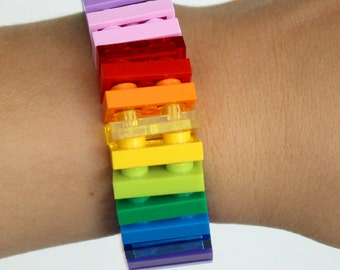 Rainbow - 1 x 2 Bracelet made with LEGO®  - Jewelry made with LEGO® -Bracelet made with LEGO®